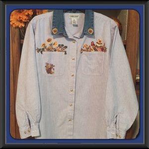 Vintage Scarecrow Sunflower Denim Striped Shirt
